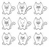 A cute cartoon cat emotions. Could be used as smileys. poster