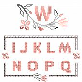 Design elements for cross-stitch embroidery. Red and black vector illustration. Floral frame for one letter and letters I-Q. poster