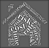 Tag or word cloud risk and cost related in shape of house poster