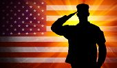 Proud saluting male army soldier on grungy american flag background poster