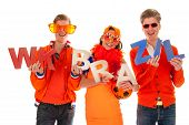 two boys and a girl the supporters of the dutch soccerteam. poster