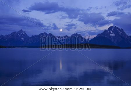 Grand Tetons With Full Moon