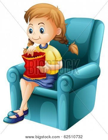 Illustration of a girl eating junkfoods while sitting down on a white background