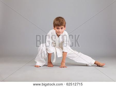 Karate Boy In White Kimono Fighting