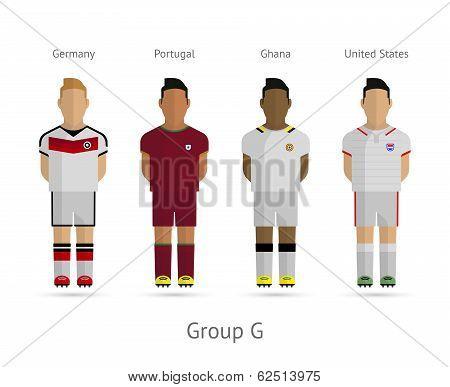 Football teams. Group G - Germany, Portugal, Ghana, United States