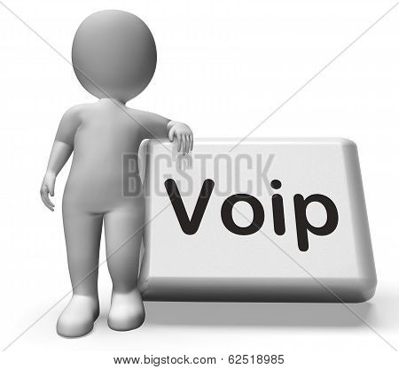 Voip Button With Character  Means Voice Over Internet Protocol