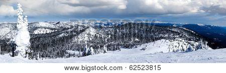 Winter Panorama Of Big Mountain, Montana, Overlooking Glacier National Park