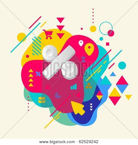 Percent on abstract colorful spotted background with different elements. Flat design. poster