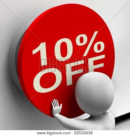 Ten Percent Off Button Shows 10 Markdown Sale