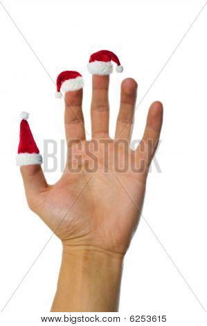 Santa's Red Hats On Fingers