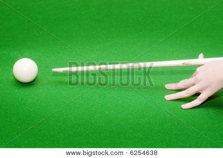 Hand Ready To hit A White Ball