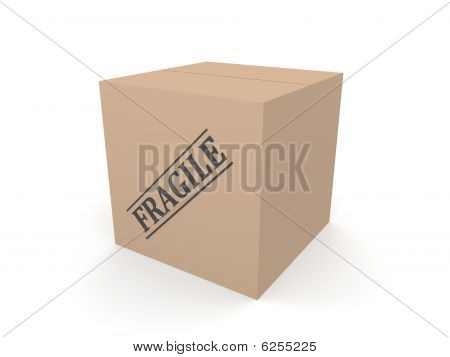 3D Box Cardboard Fragile