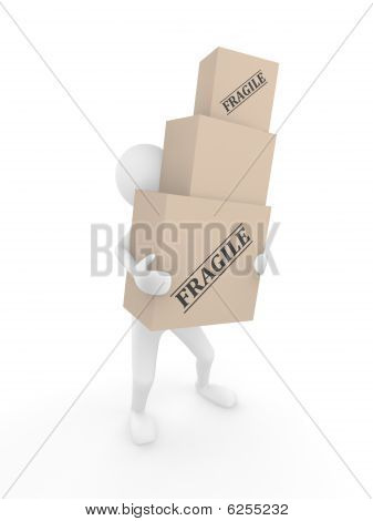 Man holding Fragile boxes