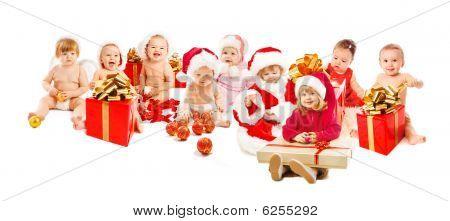 Niños de Santa feliz