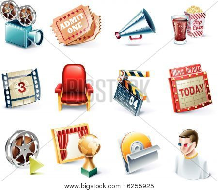 Vector cartoon style icon set. Part 31. Movie