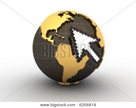 Mouse Cursor And Earth