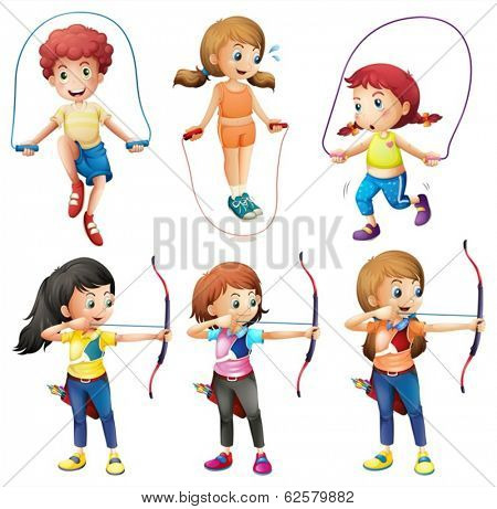 Illustration of the kids with different hobbies on a white background