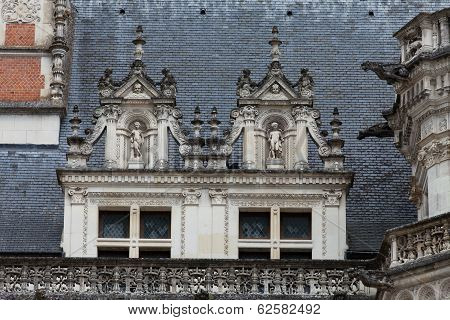 Castle of Blois.The windows in the Gaston d'Orleans wings. Loire Valley France