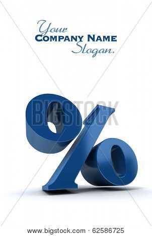 3D rendering of a blue percentage sign