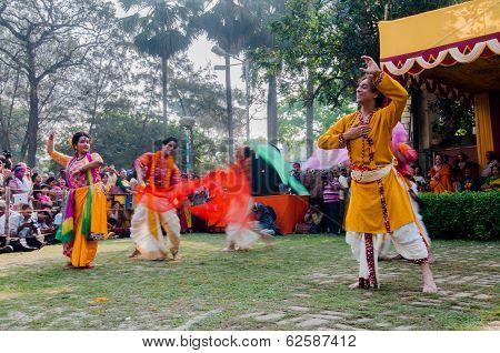 Dancers Performing In Holi Celebration, India
