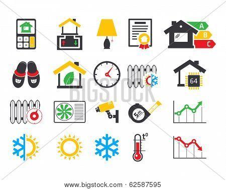 Energo efficient  smart house icons set