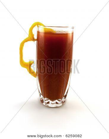Glass Of Tomato Juice With A Pepper Segment