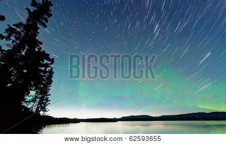 Lake Laberge Startrails Aurora Borealis Display