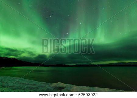 Aurora Borealis Night Sky Over Frozen Lake Laberge