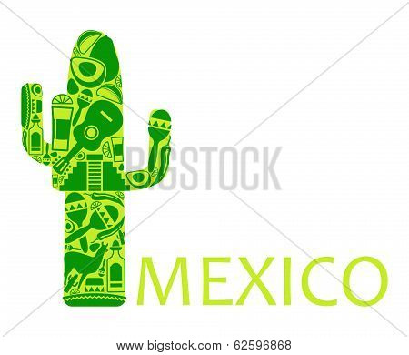 Cactus from national symbols of Mexico on a white background poster