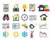 Energo efficient  smart house icons set poster