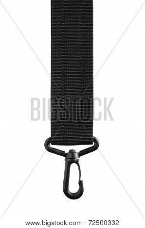 Black Belt Rope Strap Lanyard Hanging Plastic Clasp Snap Latch Hook Carabiner Isolated Macro Closeup