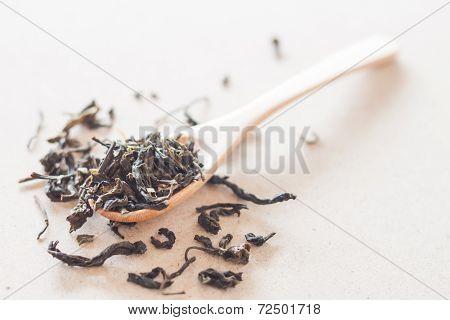 Dry Tea In Wooden Spoon