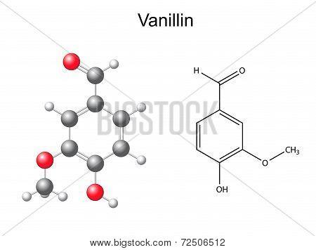 Chemical formula and model of vanillin molecule - flavor enhancer, 3D nad 2D illustration, isolated on white, vector, eps 8 poster