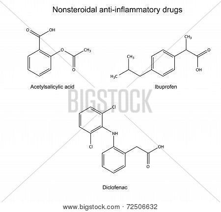 Structural chemical formulas of basic antiinflammatory drugs: acetylsalicylic acid, ibuprofen, diclofenac, 2d illustration, isolated on white background, vector, eps 8 poster