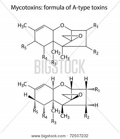 General structural chemical formulas of mycotoxins (A-type), 2d illustration,  isolated on white background, vector, eps 8 poster
