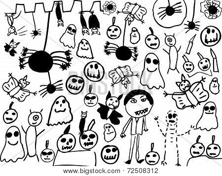 Children Doodles Of Halloween Monsters