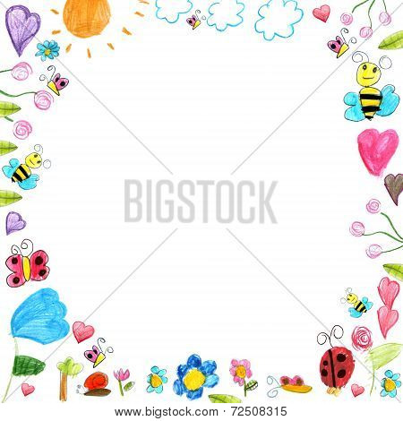 Meadow Frame - Child Scribbles Drawings Background Isolated