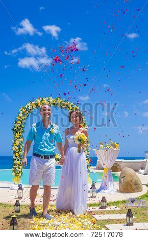Wedding Ceremony at the Tropical Coast Line.Asia. poster