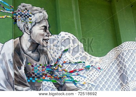 BILBAO, SPAIN - SEPT 3 2014 : Graffiti on a bridge over the river Nervion