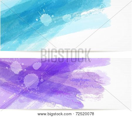 Watercolor Brushed Lines Banners
