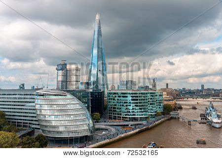 London -august 6: London Skyline With City Hall, Shard, River Thames On August 6, 2014 In London .th