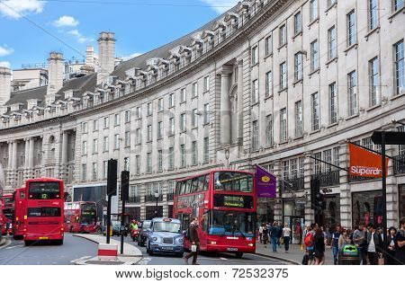 London -august 16:typical Double Decker Bus In Regent Street On August 16, 2014 In London. Regent St