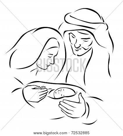 Christmas Nativity Scene With Holy Family - Baby Jesus, Virgin Mary And Joseph (vector Illustration)