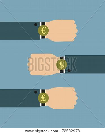 Illustration of Businessman wearing over sized watch with currency signs - Euro, Dollars and British