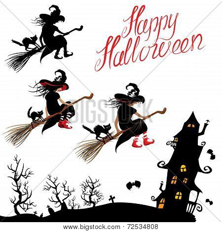 Set Of Halloween Elements - Witch Sillouette And Black Cat Flying On Broom, Mystery House. Handwritt