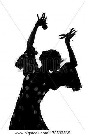 Silhouette Of Spanish Woman Flamenco Dancer Dancing Sevillanas