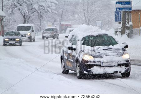 Blizzard on the road.