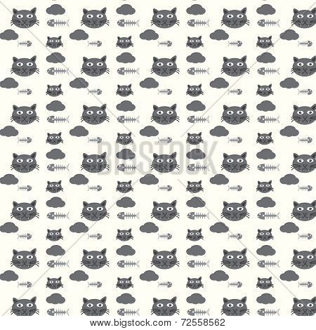 Seamless Vector Pattern Cats And Fishbones