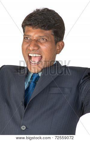 Cheering Indian Man