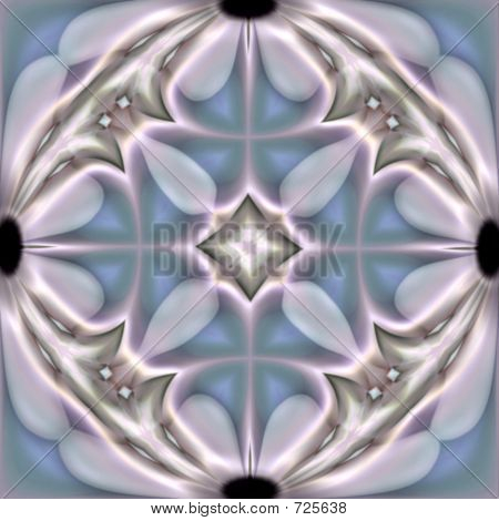 Abstract fractal image in the form of a tile with daisy accents poster